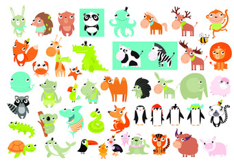Big vector set of animals.