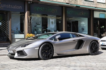 NUREMBERG, GERMANY - MAY 6, 2018: Lamborghini Aventador luxury sports car parked in Germany. The car was designed by Filippo Perini.