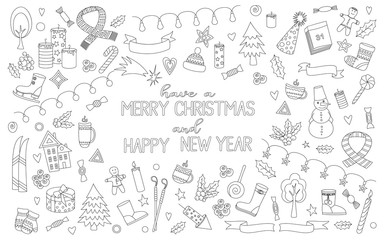 Merry Christmas black and white set. Hand drawn poster with doodle Christmas elements. Coloring book page. Vector illustration