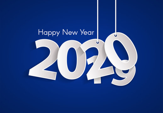 Blue Happy New Year 2020 concept with paper cuted white numbers on ropes. Change year from 2019 to 2020. Origami style numbers. Christmas and Chinese New Year decor. Vector illustration