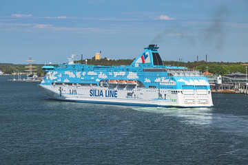 Cruiseferry MS Silja Galaxy of Tallink shipping company on June 1, 2018 in Mariehamn, Aland Islands