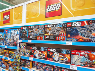 Nowy Sacz, Poland - June 16, 2017:  Lego construction kits for sale in the Tesco supermarket. Lego is a line of plastic construction toys that are manufactured by The Lego Group company in Denmark.