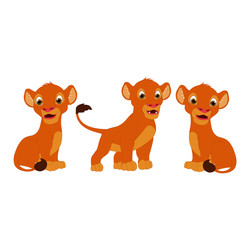 Lion Three Cubs - Cartoon Vector Image