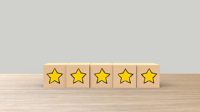 Five Star Cartoon Sketch Style on Wooden cube review on white background. Service rating, satisfaction concept. reviews and comments google maps, tripadvisor, facebook. online evaluations.