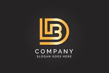 Fototapeta Luxury initial letter DLB golden gold color logo design. Tech business marketing modern vector obraz