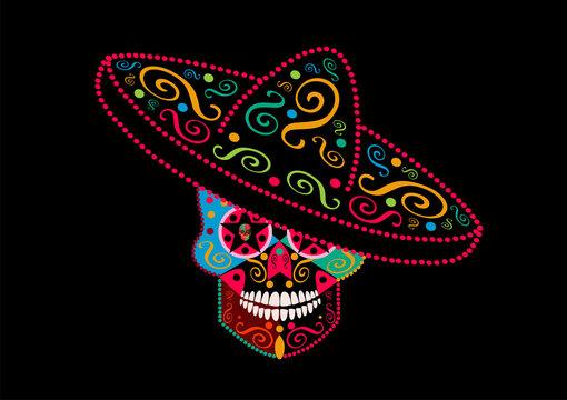 Sugar skull icon with sombrero neon colors background