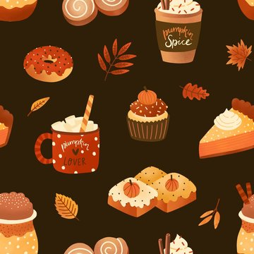 Autumn desserts flat seamless pattern