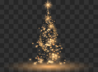 Illumination Lights Shiny Christmas tree Isolated on Transparent Background. White tree as symbol of Happy New Year, Merry Christmas holiday celebration. Bright light decoration design. Vector. Wall mural