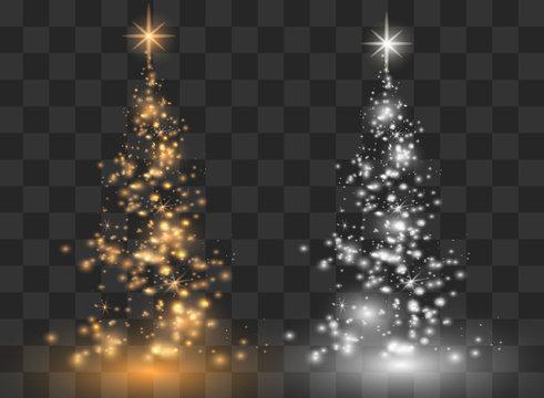 Illumination Lights Shiny Christmas tree Isolated on Transparent Background. White tree as symbol of Happy New Year, Merry Christmas holiday celebration. Bright light decoration design. Vector.
