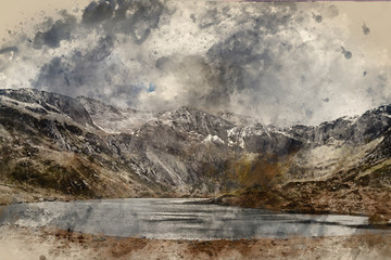 Foto auf Gartenposter Beige Digital watercolor painting of Beautiful moody Winter landscape image of Llyn Idwal and snowcapped Glyders Mountain Range in Snowdonia