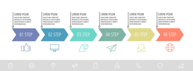 Vector infographic flat template arrows for six diagrams, graph, presentation. Business concept with 6 label. For content, flowchart, step for step, timeline, levels, marketing, data visualization
