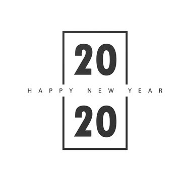 Happy New Year 2020 logo text design.Brochure design template, card, banner. Vector illustration with black holiday label isolated on white background.