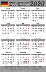 Kalender 2020 - grau - hochkant - deutsch - mit Feiertagen (85 x 54 mm)
