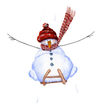 Sledding cute cartoon snowman hand drawn in watercolor isolated on a white background. Christmas watercolor illustration. Winter fishing. Watercolor snowmen. Picture from Snowmen collection.
