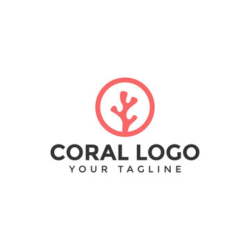 Simple Circle Coral Logo Design Template