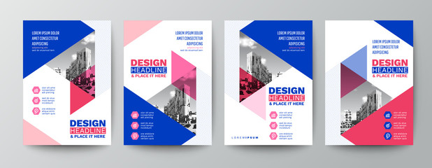 modern blue and pink design template for poster flyer brochure cover. Graphic design layout with triangle graphic elements and space for photo background