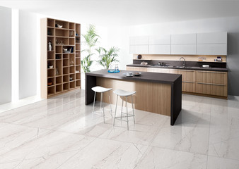 living room interior with 3d render of Italian marble slab flooring