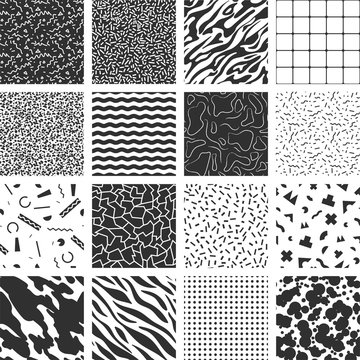 Collection of retro memphis patterns.