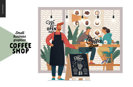 Coffee shop -small business illustrations -cafe owner -modern flat vector concept illustration of a coffee shop owner in front of the shop facade, visitors inside, pavement sign - blackboard with menu