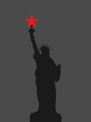 Communism and socialism in United States of America (USA). Leftist politics and Statue of Liberty. Vector illustration.