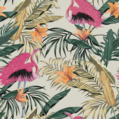Foto auf Gartenposter Botanisch Exotic jungle illustration tropical plants pink flamingo seamless wallpaper
