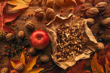 Autumn fruit, apple and walnuts