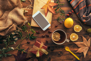 Smartphone mock up with autumn season decoration