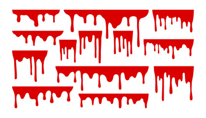 Dripping paint or blood set. Liquid with hanging drops. Halloween design collection.