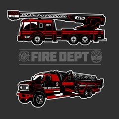 Fire Truck - Fire departament emblem vector illustration and badge.