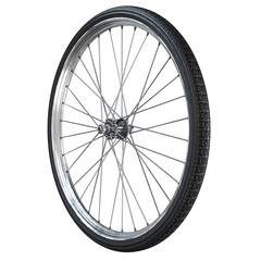 Bicycle wheel close up isolated on white background. 3d rendering.