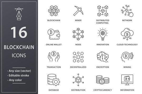 Blockchain technology line icons set. Black vector illustration. Editable stroke.