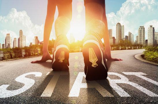 Start of people running on street,with sunrise light.Goal of Success - Image