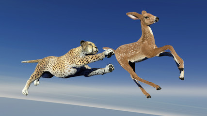 Cheetah is hunting an antelope, 3D illustration