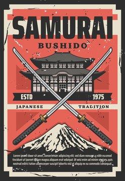 Bushido Samurai way of life. Pagoda, katana, Fuji