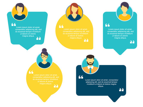 Testimonial Speech bubble concept, customer feedback for info graphic, application and website. Creative testimonials template with different shapes. Vector illustration.