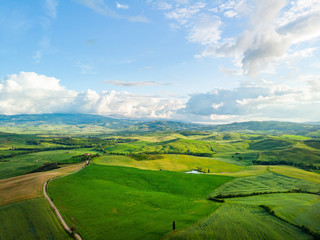 Tuscany countryside hills, stunning aerial view in spring. Fototapete