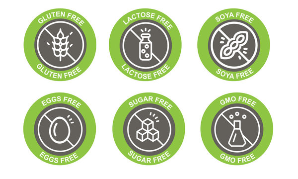 Basic allergens and diet icons vector set isolated on white background.