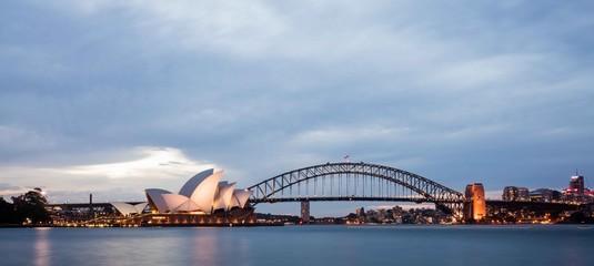 Foto op Canvas Sydney Sydney skyline at sunset time
