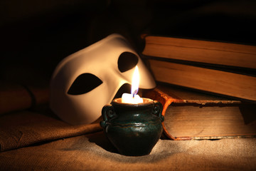 Venetian Mask And Candle