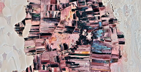 The power of the wind, farms of human crops in the desert, tribute to Pollock, abstract photography of the deserts of Africa from the air, aerial view, abstract expressionism, contemporary art,