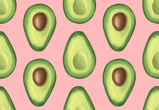 Vector seamless pattern with avocado. Tropical background with exotic fruit.
