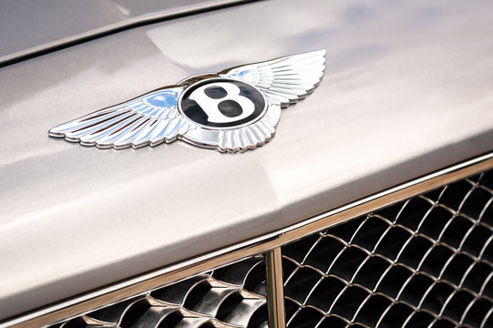Bentley vehicle badge closeup on a classic limousine in Winnersh, UK on May 18, 2013