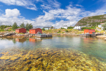 Fishing boat and shed, Salvage, Newfoundland&Labrador, Canada