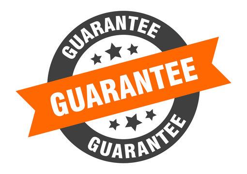 guarantee sign. guarantee orange-black round ribbon sticker