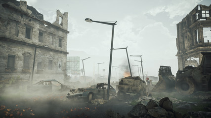 Ruins of a city. Apocalyptic landscape post apocalypse