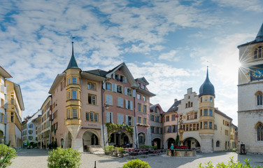 Obraz view of the Ring Square and the Vennerbrunnen Fountain in the historic old town of Biel - fototapety do salonu