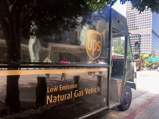 A natural gas-powered UPS delivery van is shown in downtown Los Angeles, California, U.S.