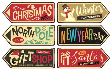 Collection of holiday Christmas sign posts. Christmas party,winter playground, north pole, New year party, gift shop and Santa's workshop. Seasonal vector illustrations set.