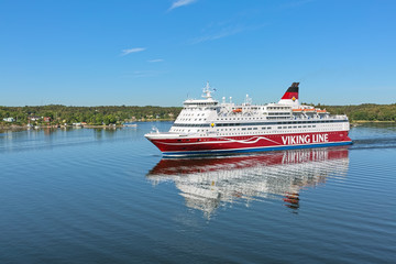 Cruiseferry MS Gabriella of Viking Line company on June 1, 2018 in Stockholm archipelago, Sweden
