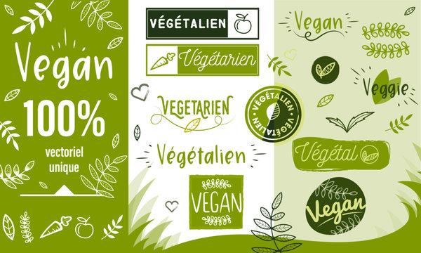 Logo / Label / sticker - vegan - veggie - végétalien - végétarien